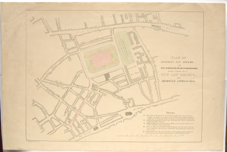 The Ground Plan of Lincoln's Inn Fields, London and the Surrounding Neighbourhood. Showing the ...