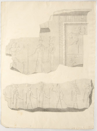 Fragments of Egyptian wall carvings or reliefs.