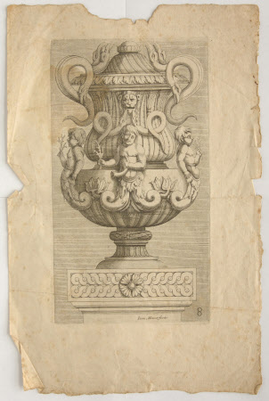 An Urn or Vase on a Pedestal, with Writhing Snakes for Handles
