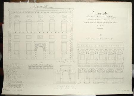 Spaccato che dimostra l'architettura ornamentale interno di stinta nelle tre faccie segnate colle ...
