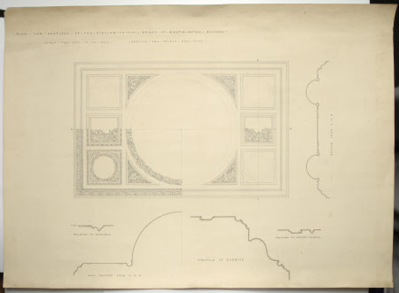 Plan and Sections of the Ceiling to the Library of Westminster Schoo