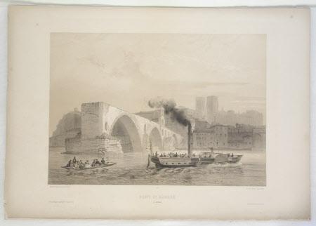 Pont Saint-Bénezet, (also called Pont d'Avignon), Avignon, France (after Jean-Baptiste Chapuy)