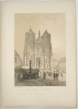 Exterior of Regensburg Cathedral (after Jean Baptiste Chapuy)