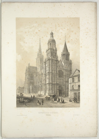 Cathedral, Evreux, Normandy, (after Jean Baptiste Chapuy)