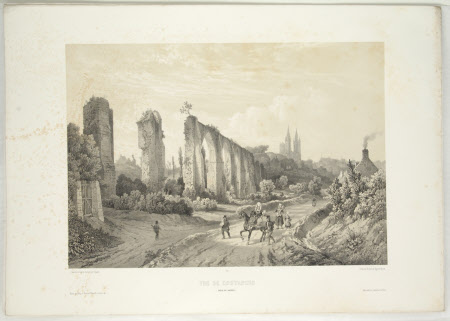 View of Coutances, with the ruins of the aquaduct (after Jean Baptiste Chapuy)