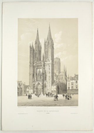 Facade of the Cathedral of Coutances (after Jean Baptiste Chapuy)
