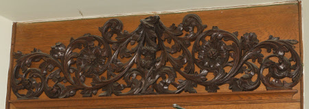 Decorative Wood Carving over Door to Entrance Hall