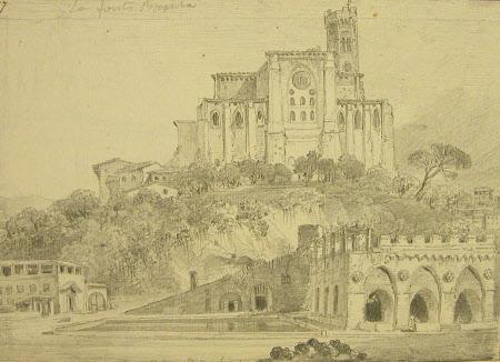 View of Fontebranda and Church of San Domenico, below Siena