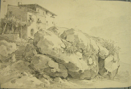 Rocks and Buildings at Nemi in the Roman Campagna
