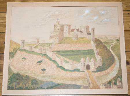 Corfe Castle, Dorset as it looked before its destruction during the Civil War: pre 1646.