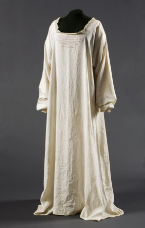 Chemise belonging to Mary, Queen of Scots (1542–1587) in which she was executed at Fotheringhay ...