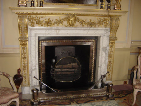 Chimneypiece, decorated with swags and the Mask of Flora, South Drawing Room, Wimpole Hall