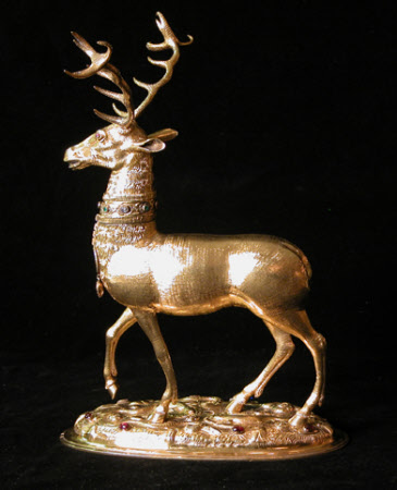 Cup in the form of a walking stag