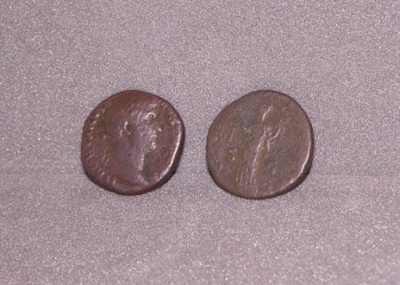 Two Coins: Emperor Hadrian, Emperor of Rome (76 – 138 AD)