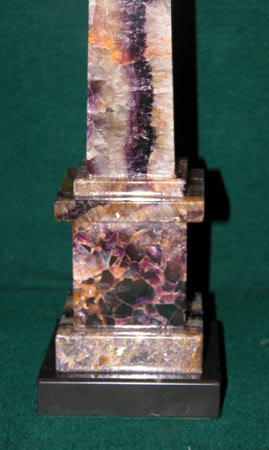Blue John Obelisk with Black Marble Base