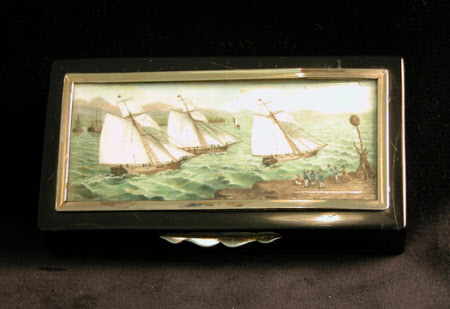 Box with painted scene of yacht race