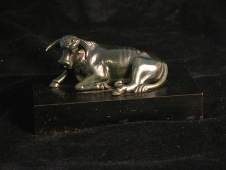A reclining ox