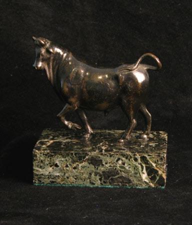 A pacing bull