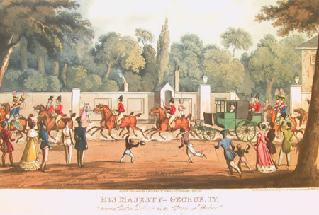 King George IV (1762-1830) leaving Carlton Palace, London, for the Cottage at Windsor (after ...