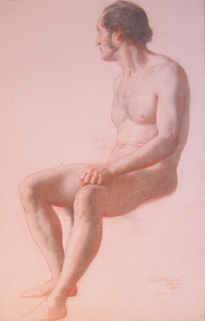Nude Man Seated, looking away