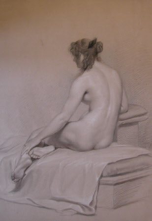 Back View of Seated Female Nude
