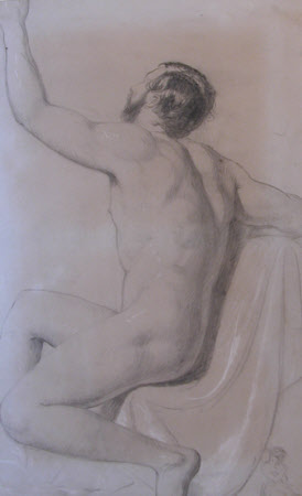Back View of Seated Male Nude