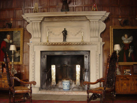 Chimneypiece, carved with fruit and foliage garland with egg and dart, Great Hall, Melford Hall, ...