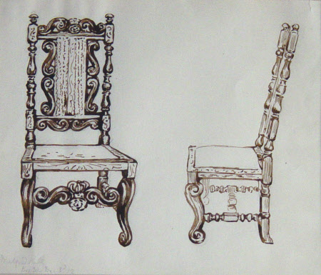 Two Studies of a Charles II Chair at Melford Hall, Suffolk