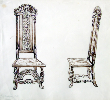 Two Studies of a James II Chair at Melford Hall, Suffolk