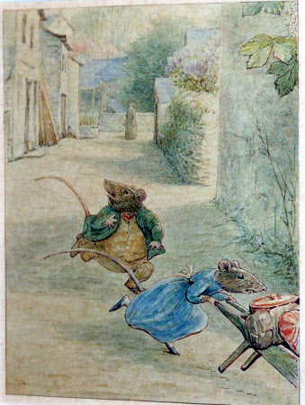 Two mice escaping down a street with a barrow of belongings.