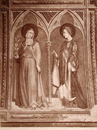 St Clare and St Elizabeth of Hungary by Simone Martini, Chapel of San Martino, Lower Church, ...