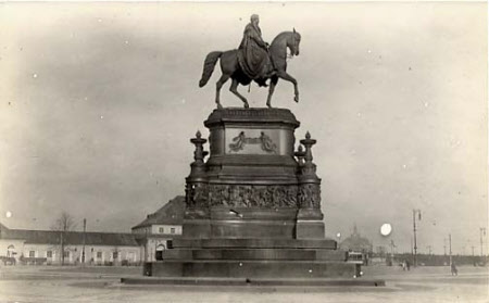 Statue in Bronze of King John, King of Saxony (1801-1873) in front of the Opera House, Dresden