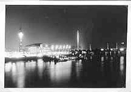 Night: The Shot Tower, Festival Hall and the Skylon, South Bank, London: Festival of Britain