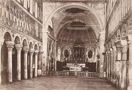 Interior of the 6th century church of Sant' Apollinare Nuovo, Ravenna