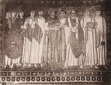 Mosaic: The Emperor Justinian I, Emperor of the East (c.482-565) and his Court, Church of San ...