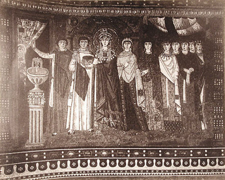 Mosaic: The Empress Theodora (c.500-548) and her court, Church of San Vitale, Ravenna