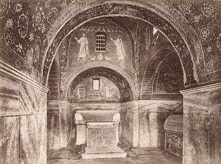 Interior of the Mausoleum of Galla Placidia, Ravenns with mosaic of St Lawrence going to his ...