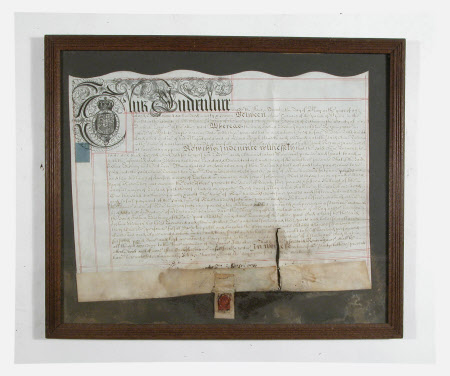 Document with seal concerning Joshua Edisbury and Anne Turnour.