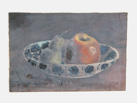 Still Life of Apple and Pear in a Bowl (from a Portfolio of oil sketches)