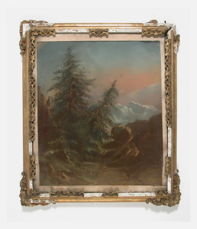 Landscape with mountains and fir trees