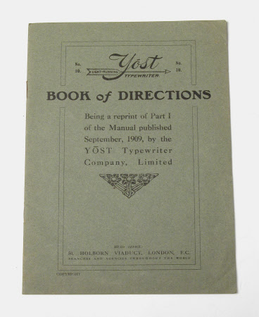 'YOST LIGHT RUNNING TYPEWRITER NO 10 BOOK OF DIRECTIONS