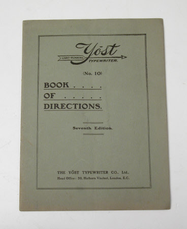 'YOST LIGHT RUNNING TYPEWRITER No 10 BOOK OF DIRECTIONS Seventh Edition'.