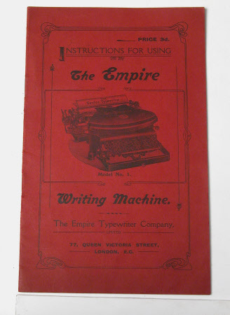 'INSTRUCTION FOR USING THE EMPIRE MODEL No 1 WRITING MACHINE....'