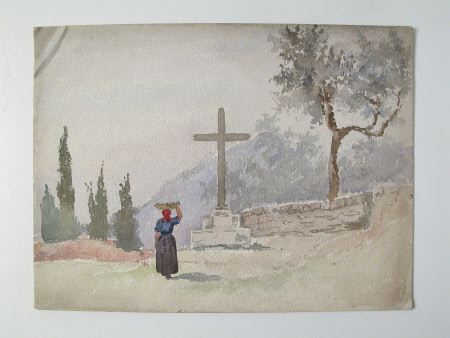 Mountainous Landscape with woman and wayside cross