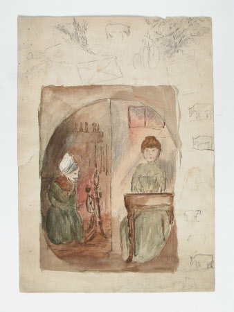 Young woman playing a piano and an old lady spinning