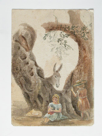 Recto: donkey and boy,  Verso, Donkey with two girls and trees