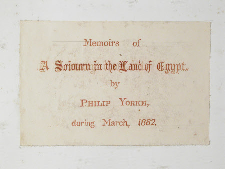 A Sojourn in the Land of Egypt 1882