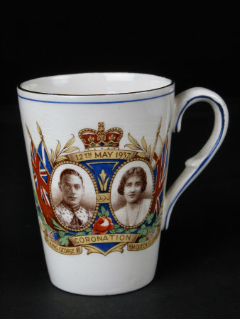 Mug commemorating the coronation on 12th May 1937 of King George VI (1895-1952) and Queen Elizabeth ...
