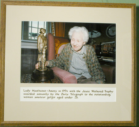 Joyce Newton Wethered, Lady Heathcoat Amory (1901 - 1997) with the Joyce Wethered Trophy awarded ...