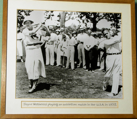 Joyce Newton Wethered, Lady Heathcoat Amory (1901 - 1997) playing an exhibition match in USA, 1935.